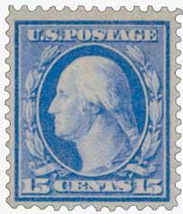 1909 15c Washington, ultramarine, perf 12
