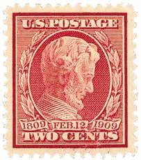 1909 2c Lincoln, carmine, perf 12