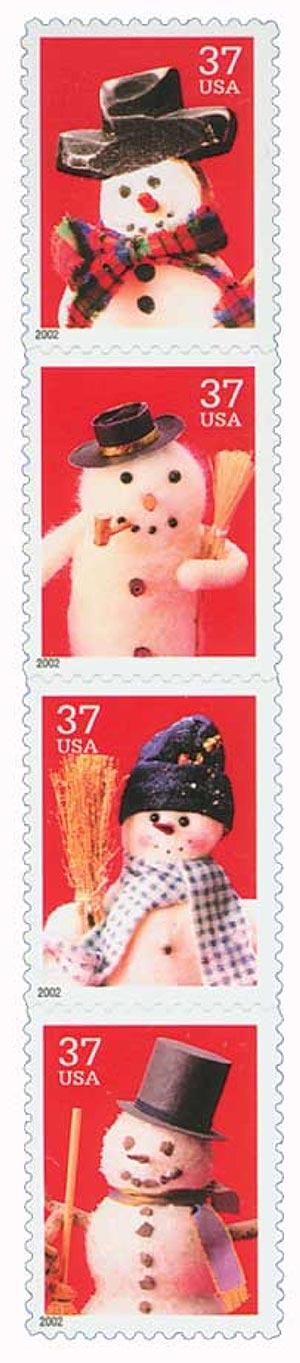 2002 37c Contemporary Christmas: Snowmen