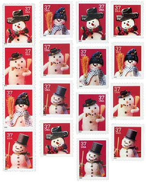 2002 37c Snowmen, collection of 16 stamps