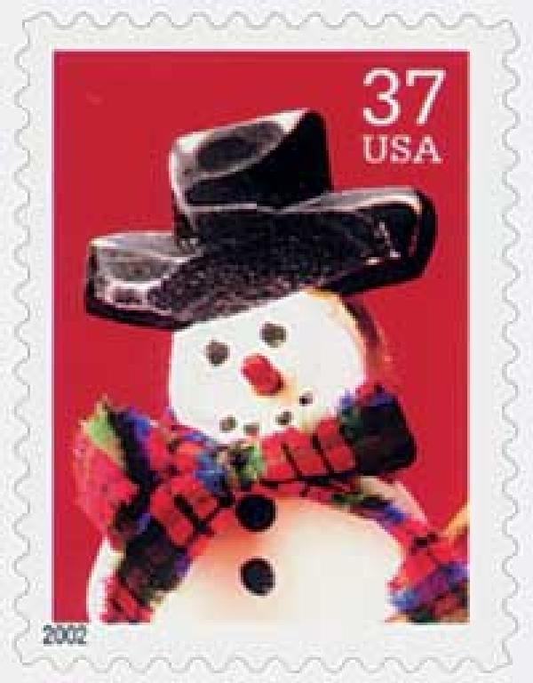 2002 37c Contemporary Christmas: Snowman wth Red Plaid Scarf