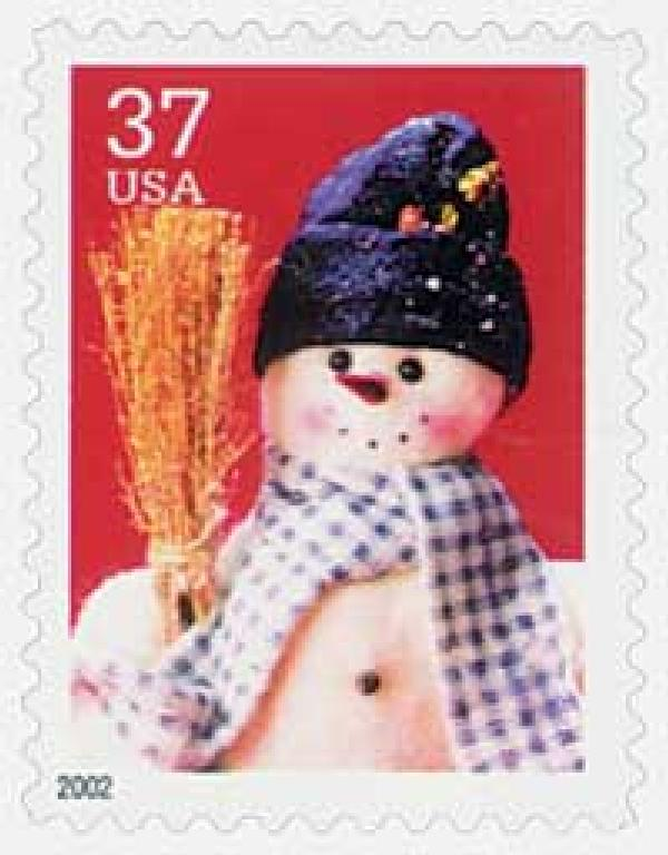 2002 37c Contemporary Christmas: Snowman with Blue Plaid Scarf