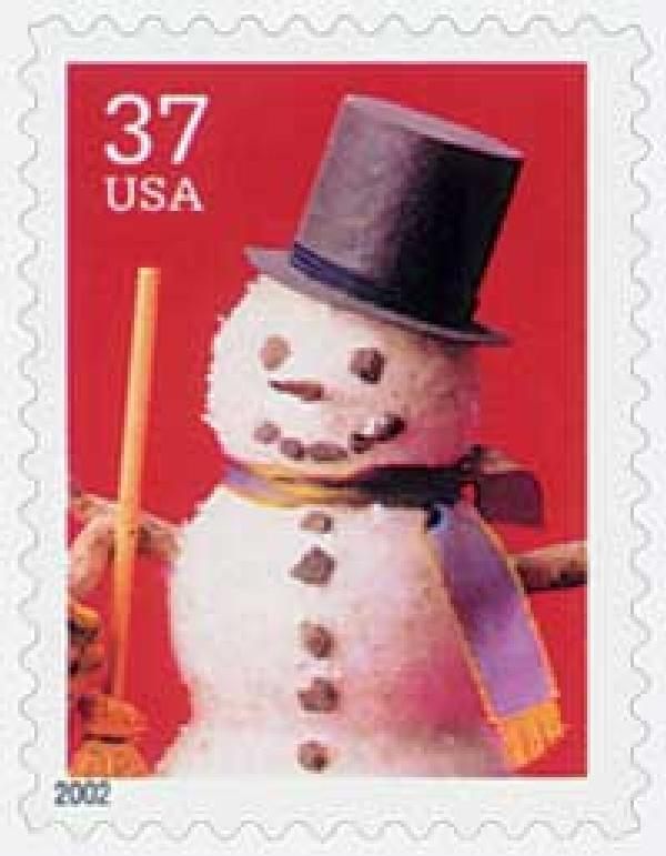 2002 37c Contemporary Christmas: Snowman with Top Hat