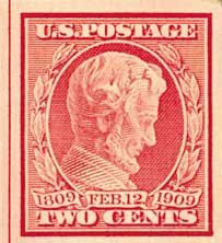 1909 2c Lincoln, carmine, imperforate