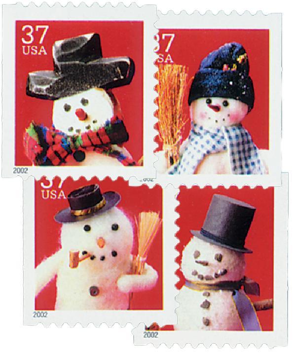 2002 37c Contemporary Christmas: Snowmen, linerless coil