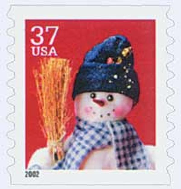 2002 37c Contemporary Christmas: Snowman with Blue Plaid Scarf, coil
