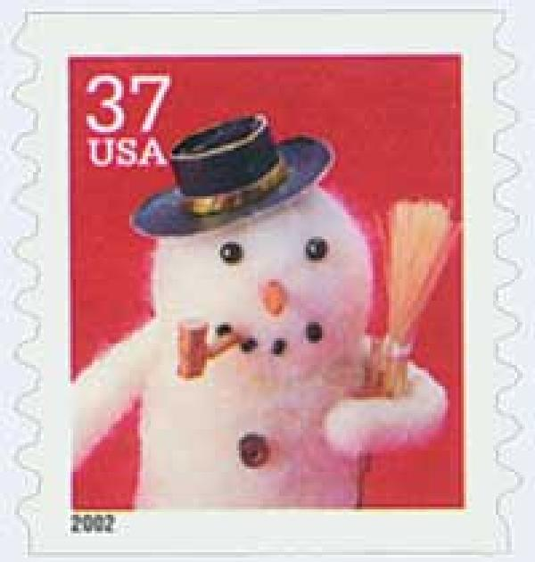 2002 37c Contemporary Christmas: Snowman with Cork Pipe, coil