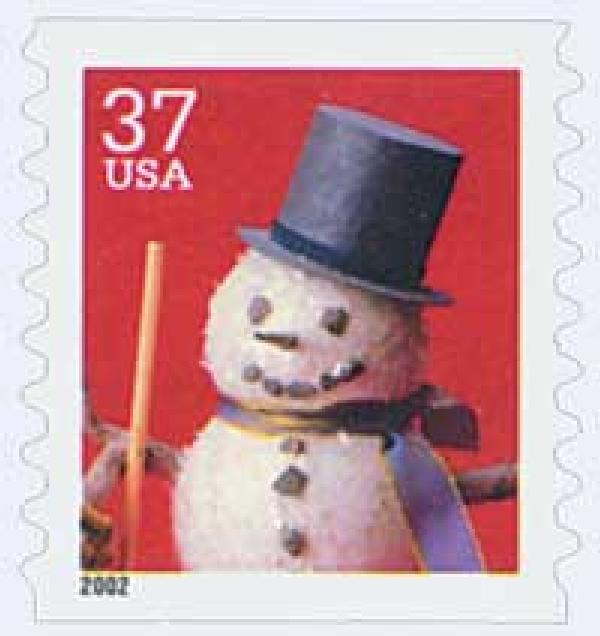 2002 37c Contemporary Christmas: Snowman with Top Hat, coil
