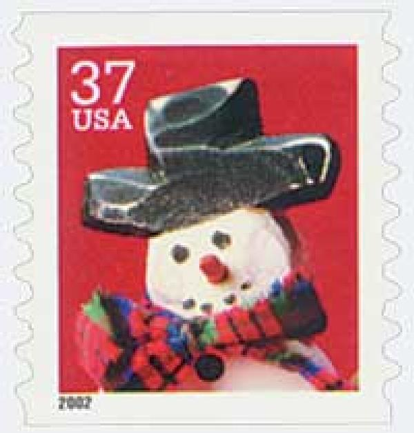 2002 37c Contemporary Christmas: Snowman wth Red Plaid Scarf, coil