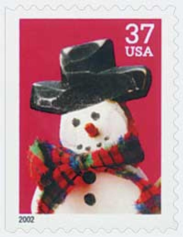 2002 37c Contemporary Christmas: Snowman wth Red Plaid Scarf, large booklet stamp