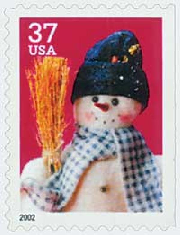 2002 37c Contemporary Christmas: Snowman with Blue Plaid Scarf, large booklet stamp