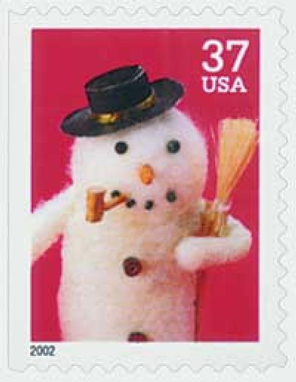 2002 37c Contemporary Christmas: Snowman with Cork Pipe, large booklet stamp