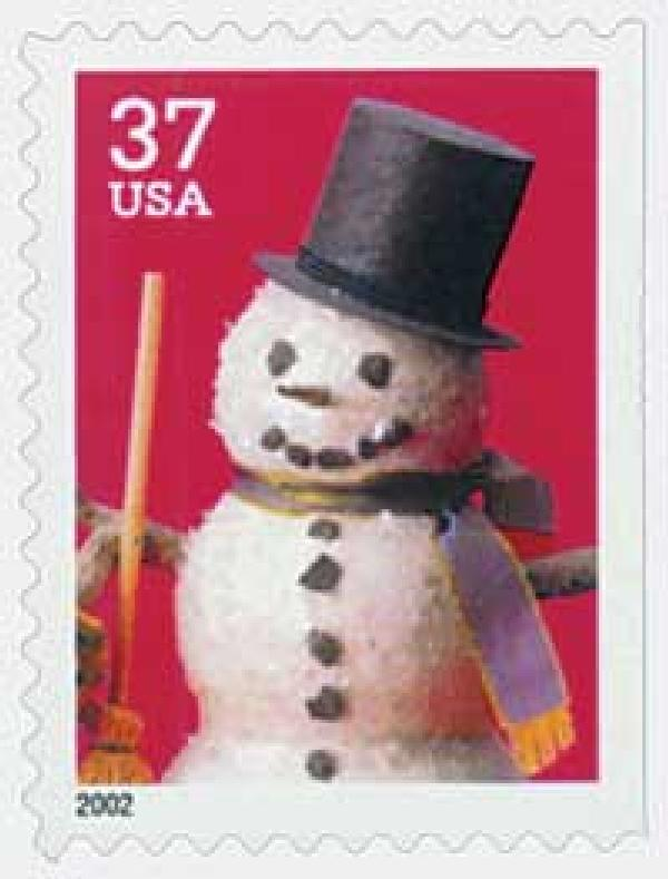 2002 37c Contemporary Christmas: Snowman with Top Hat, large booklet stamp