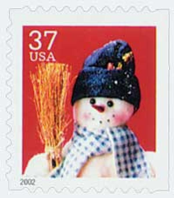 2002 37c Contemporary Christmas: Snowman with Blue Plaid Scarf, small booklet stamp