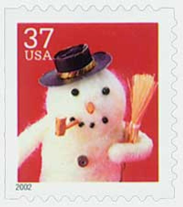 2002 37c Contemporary Christmas: Snowman with Cork Pipe, small booklet stamp