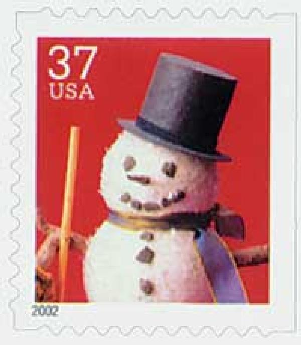 2002 37c Contemporary Christmas: Snowman with Top Hat, small booklet stamp