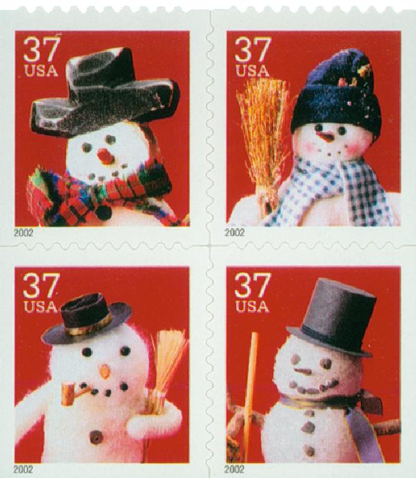 2002 37c Contemporary Christmas: Snowmen, block of 4 stamps