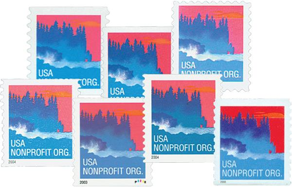 2002-08 5c Sea Coast, collection of 7 stamps