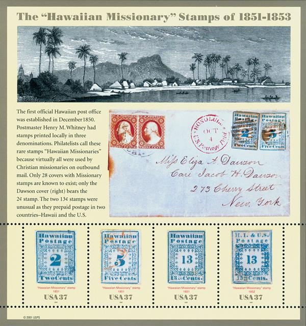 2002 37c Hawaiian Missionaries, souvenir sheet of 4 stamps