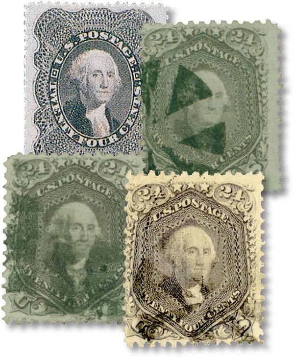 1860-68 24c Washington, Set of 4