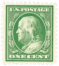 1910 1c Franklin perf 12 green