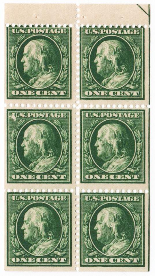 1910 1c Franklin pf 12, bklt pane/6