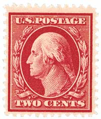 1910 2c Washington Single Line Watermark, Carmine