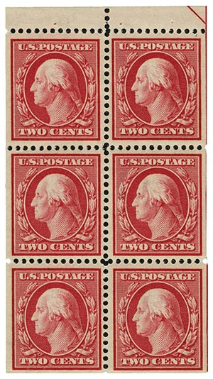 1910 2c Washington, Booklet pane of 6