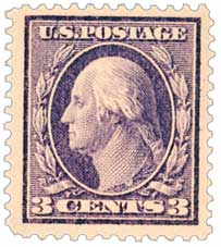1911 3c Washington, deep violet, single line watermark