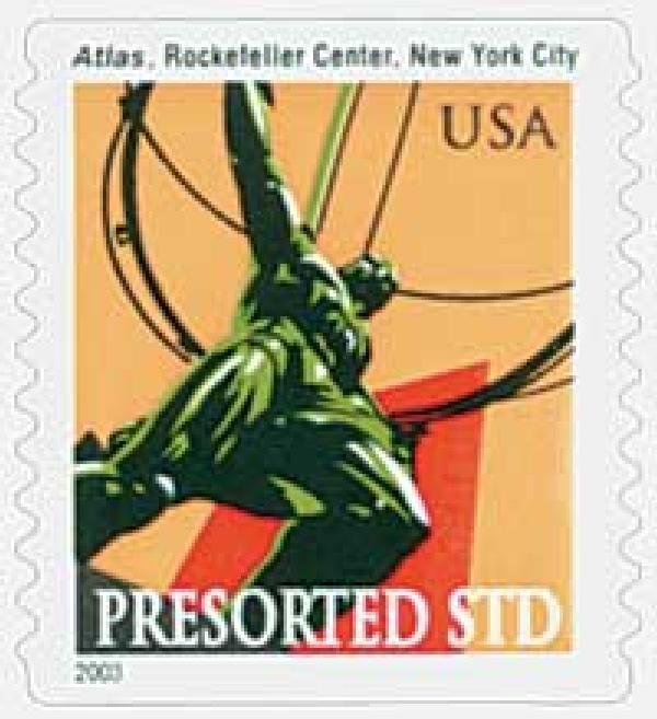 2003 10c Atlas Statue, non-denominational coil