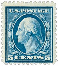 1911 5c Washington, blue, single line watermark, perf 12