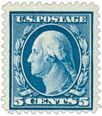 1911 5c Washington, blue, single line watermark, perf 12
