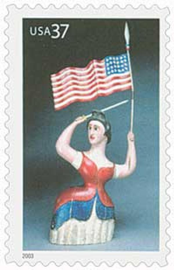 2003 37c Carving of Woman with Flag
