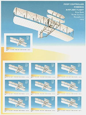 2003 37c First Flight Centenary, sheet of 10