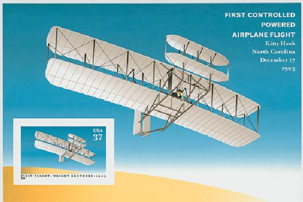 2003 37c First Flight of the Wright Brothers, pane of 1 stamp