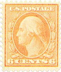 1911 6c Washington, red orange, single line watermark