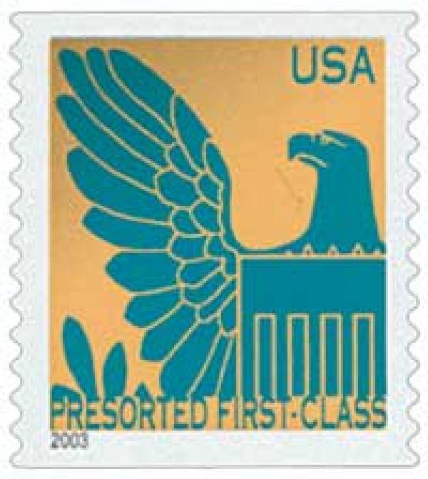2003 25c Gold Background / Pr Blue Eagle, Non Denomination