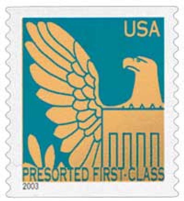 2003 25c Pr Blue Background / Gold Eagle, Non Denomination