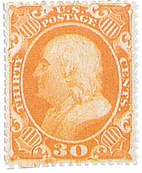 1860 30c Franklin, orange