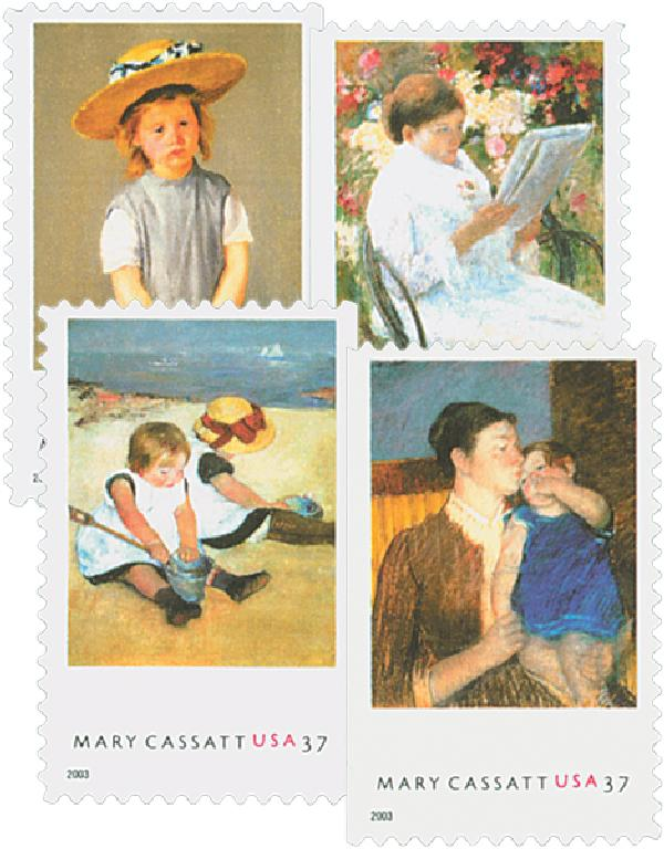 2003 37c Mary Cassatt Paintings, 4 stamps