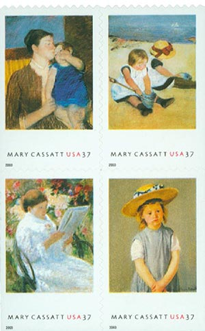 2003 37c Mary Cassatt, s/a, block of 4