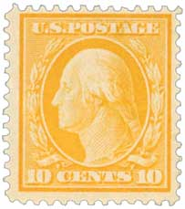 1911 10c Washington, yellow, single line watermark