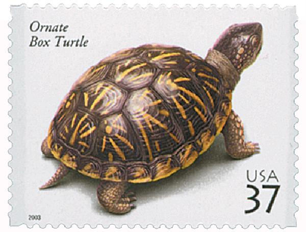 2003 37c Reptiles and Amphibians: Ornate Box Turtle