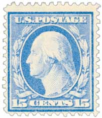 1911 15c Washington, ultramarine, single line watermark