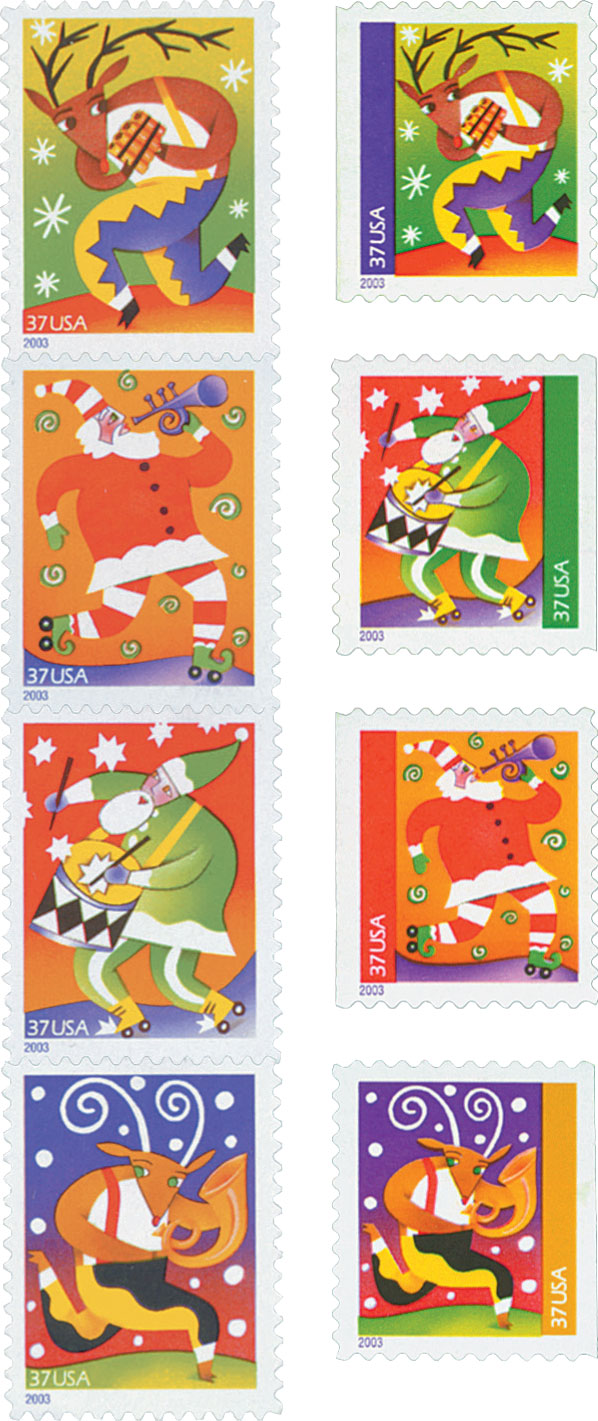 2003 37c Holiday Music Makers, set of 8 stamps
