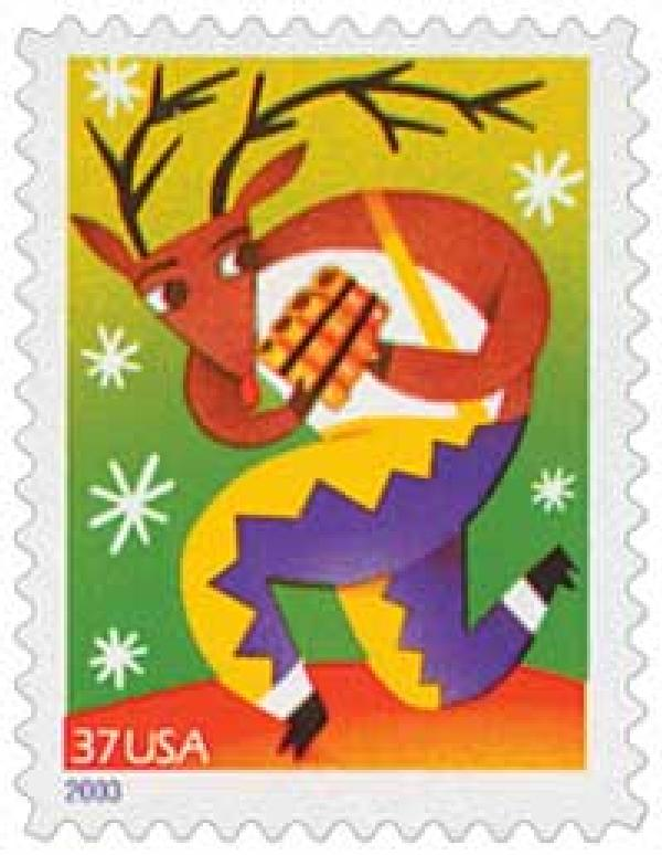 2003 37c Contemporary Christmas: Reindeer with Pan Pipes