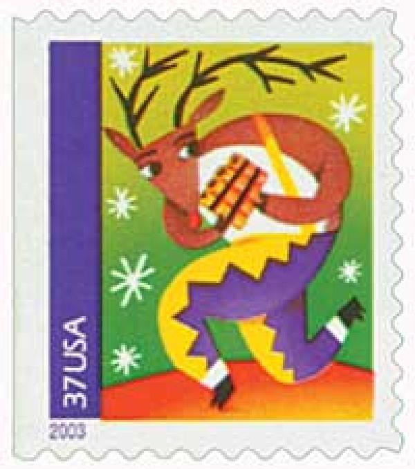 2003 37c Contemporary Christmas: Reindeer with Pan Pipes, booklet single