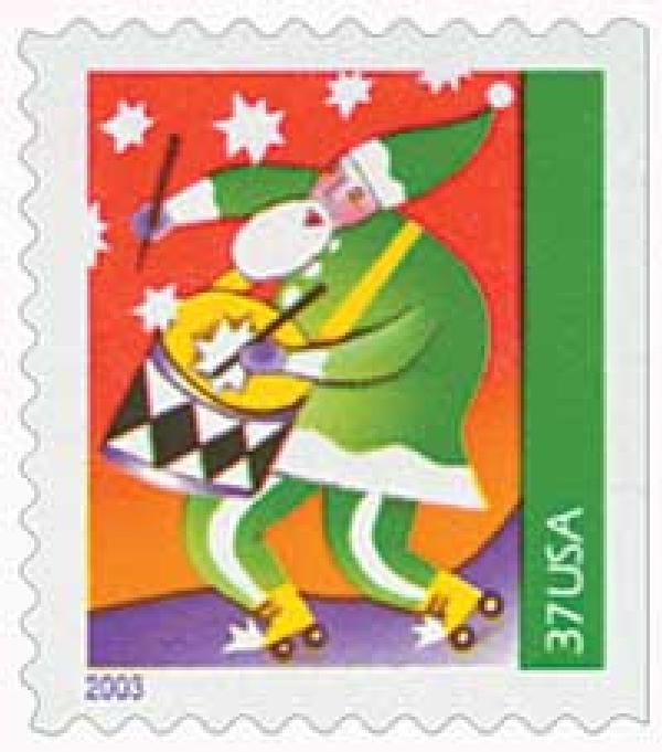 2003 37c Contemporary Christmas: Santa with Drum, booklet single