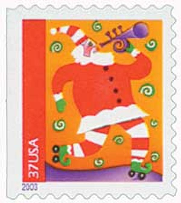 2003 37c Contemporary Christmas: Santa with Trumpet, booklet single