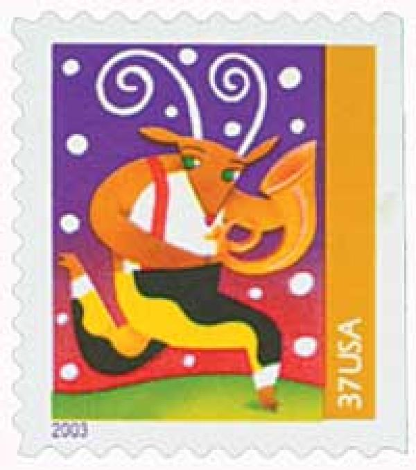 2003 37c Contemporary Christmas: Reindeer with Horn, booklet single